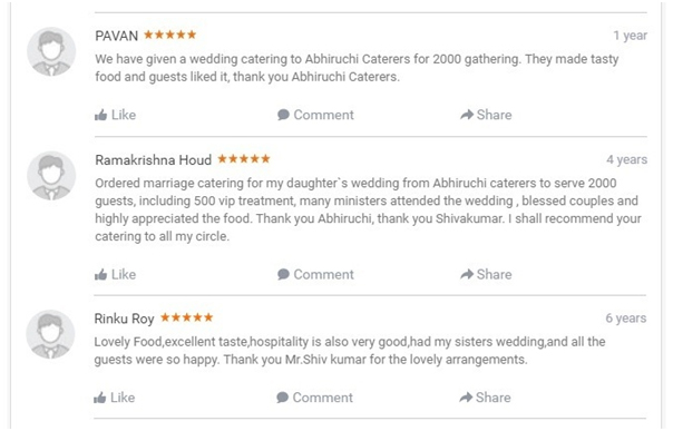 Rating  and   Reviews of Abhiruchi Caterers Wedding Catering
