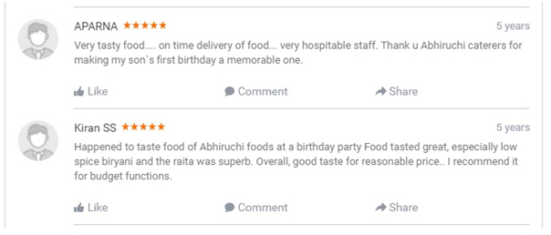 Ratings  and  Reviews of Abhiruchi Caterers Birthday Catering